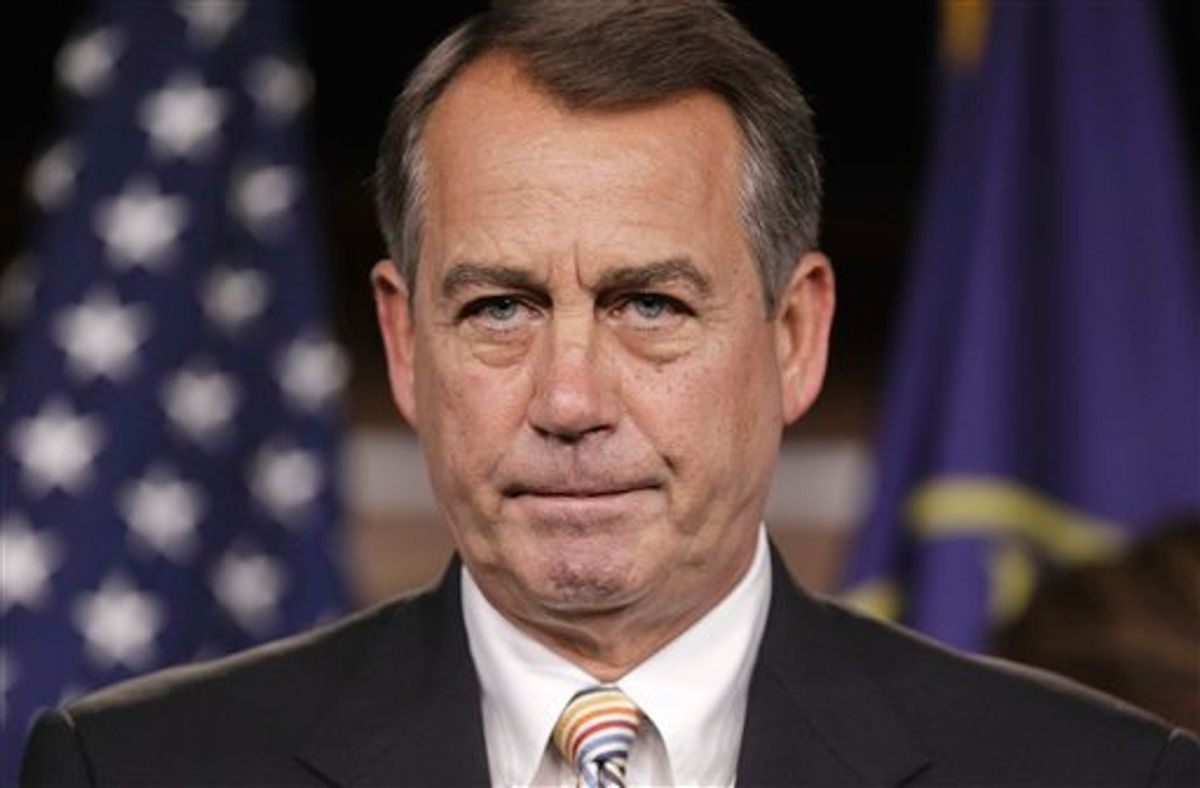 House Speaker John Boehner of Ohio pauses during a news conference on Capitol Hill in Washington, Tuesday, July 19, 2011. Boehner said he is considering alternative budget plans even as the House takes up a GOP proposal to cap spending and eventually require a balanced budget.  (AP Photo/J. Scott Applewhite) (AP)