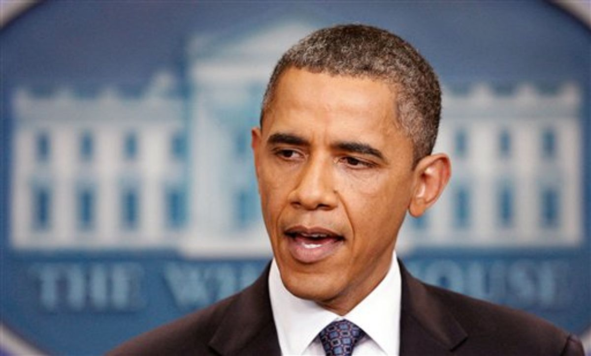 President Barack Obama makes a statement in the Brady Briefing Room at the White House in Washington, Friday, July 22, 2011 on the break down of debt ceiling talks.  (AP Photo/Manuel Balce Ceneta) (AP)