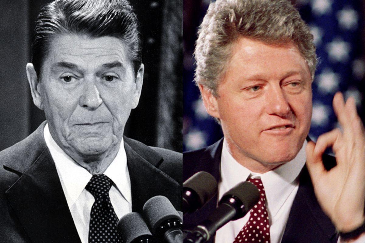 Ronald Reagan and Bill Clinton