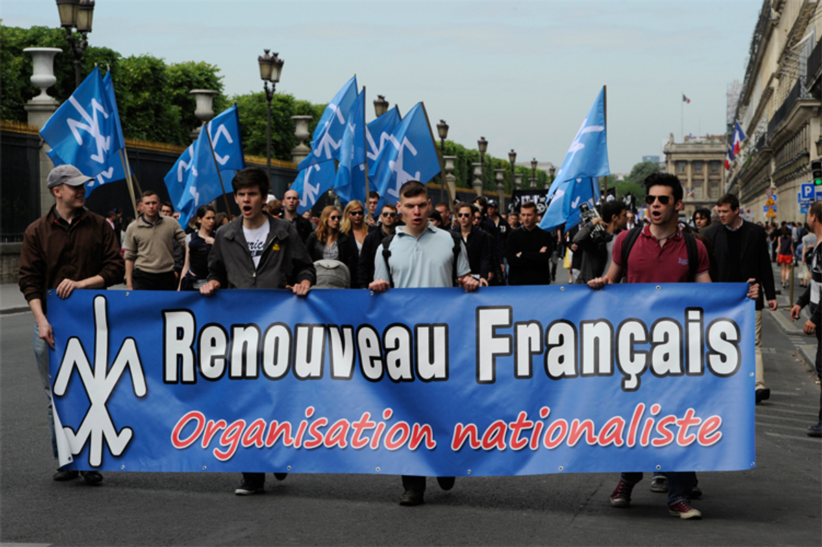 Members of French far right organizations take part in a protest march in Paris May 8, 2011