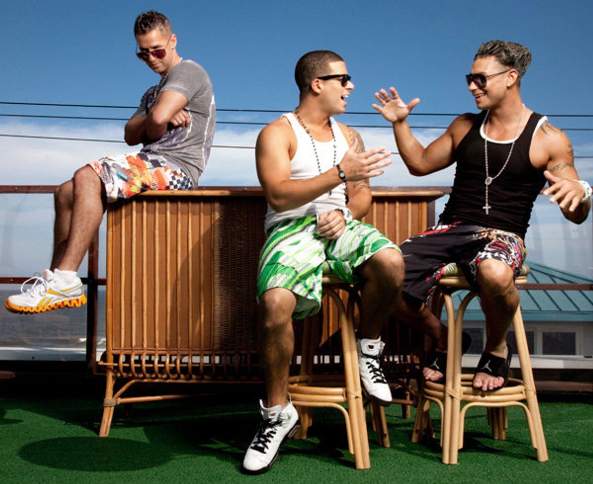"""The Situation, Vinny, and Pauly D. in happier times on """"The Jersey Shore."""""""