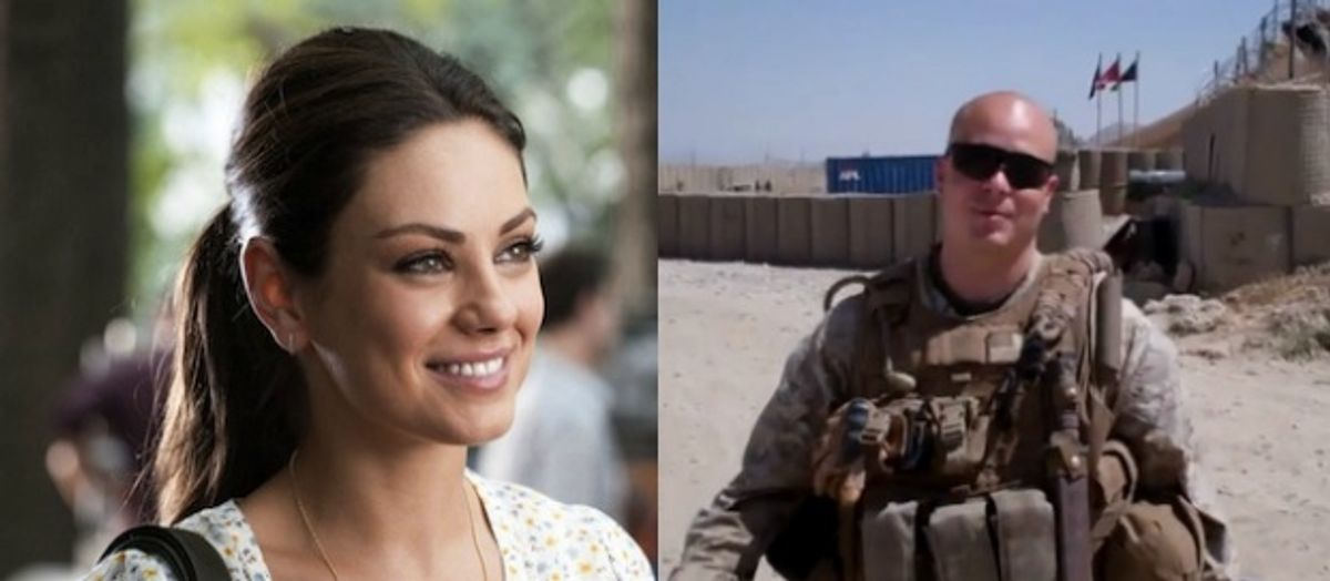 The unlikely couple: Mila Kunis and Sgt. Scott Moore.