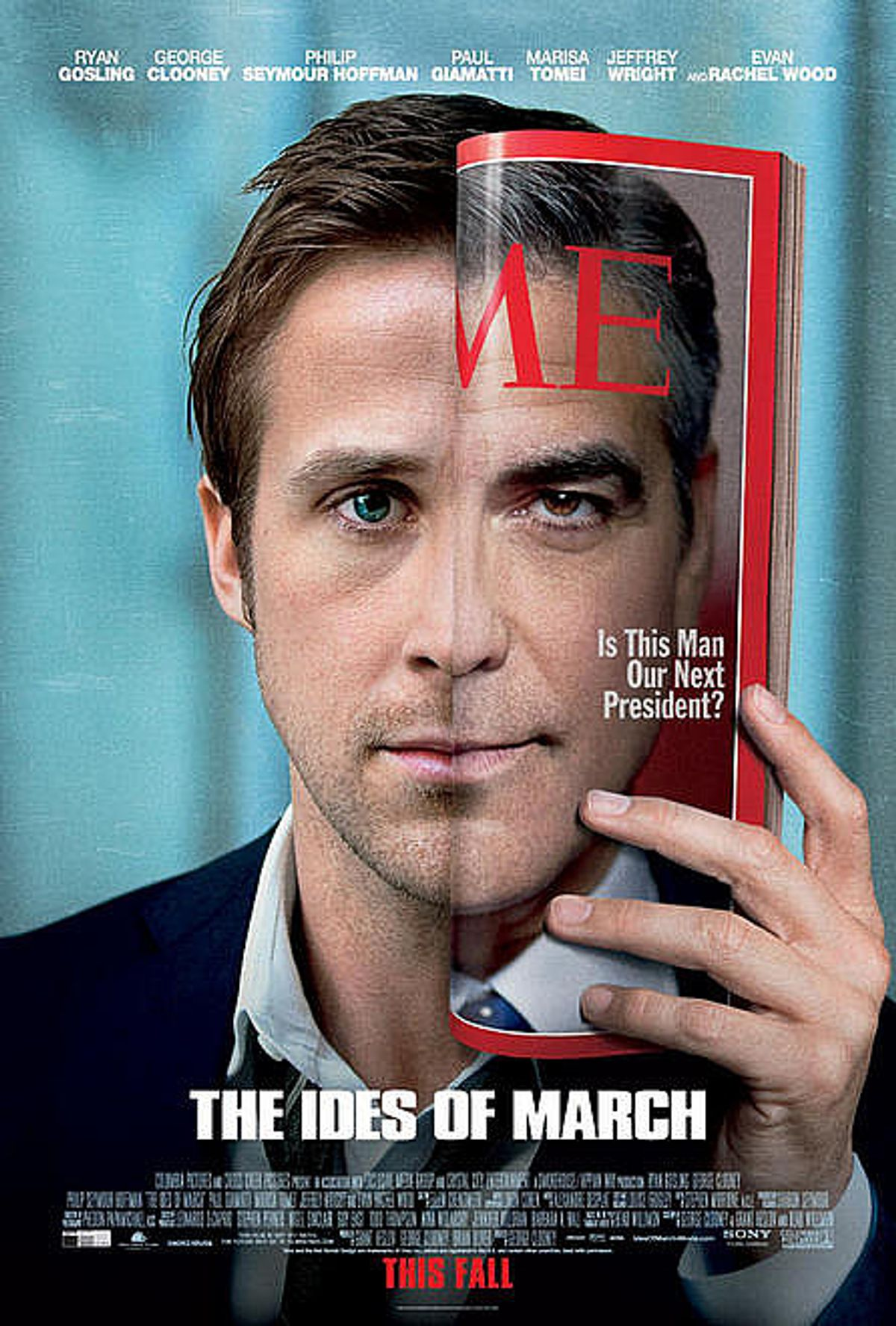 """Ryan Gosling and George Clooney on the poster for """"The Ides of March."""""""