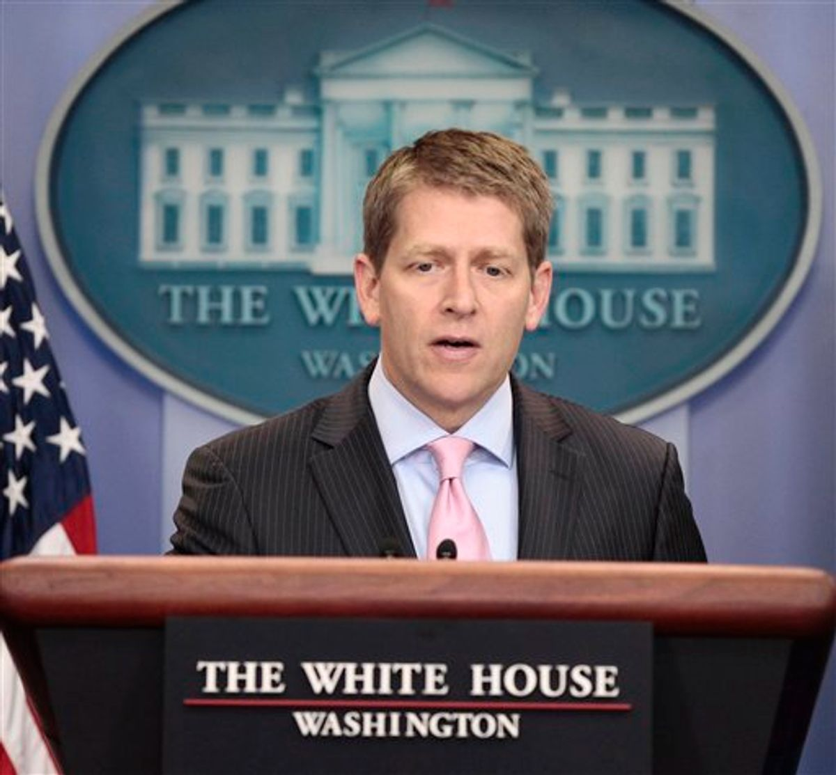 White House Press Secretary Jay Carney speaks during his daily news briefing at the White House in Washington, Monday, July, 18, 2011. (AP Photo/Pablo Martinez Monsivais)   (AP)