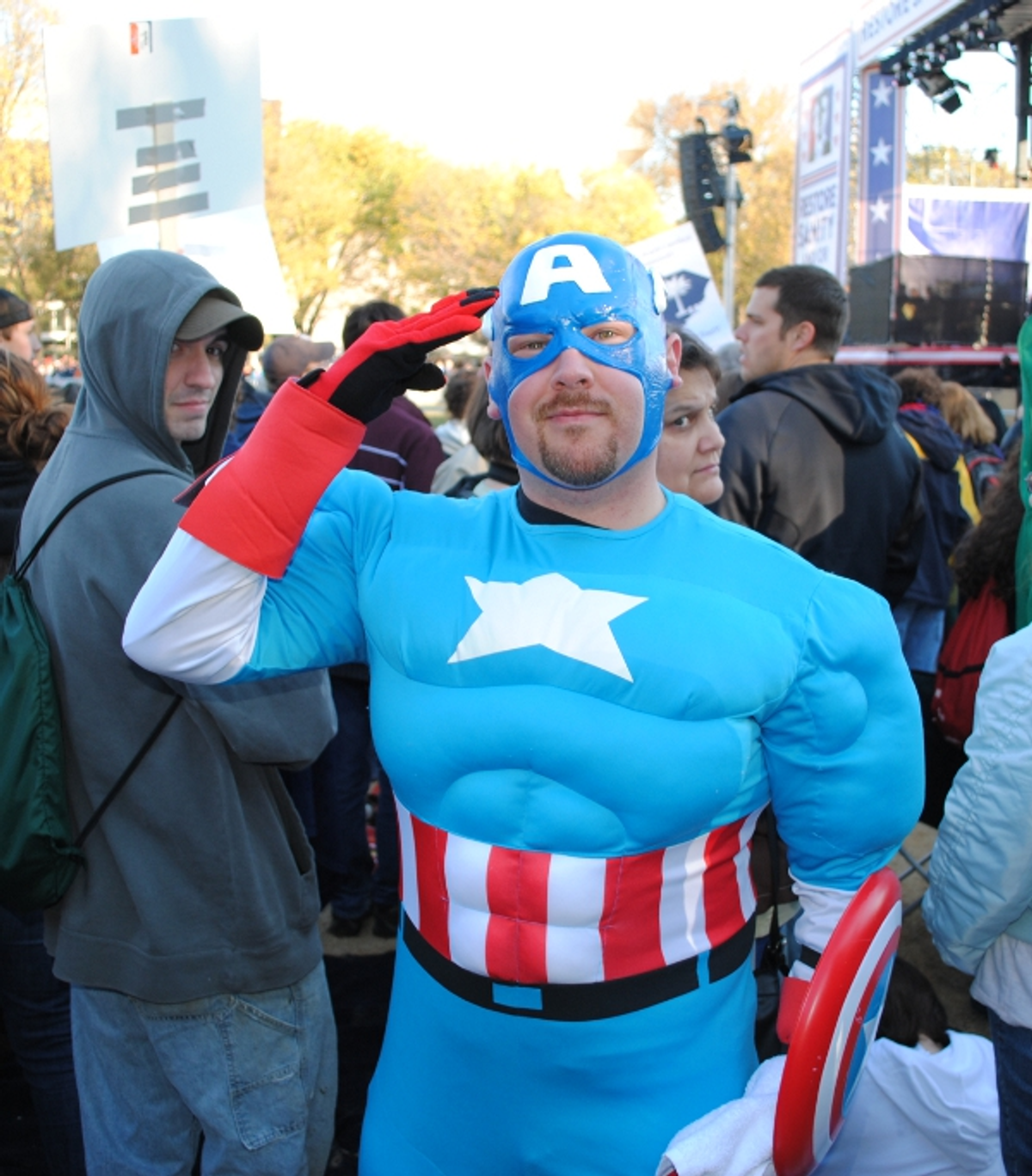 Captain America salutes reasonableness at the Rally to Restore Sanity in Washington, D.C. on October 30, 2010