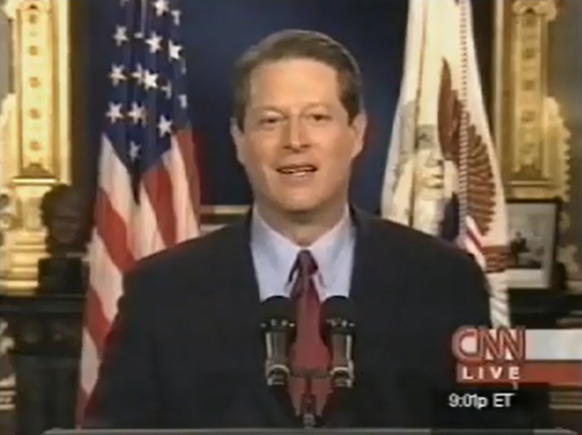Al Gore concedes the 2000 presidential election