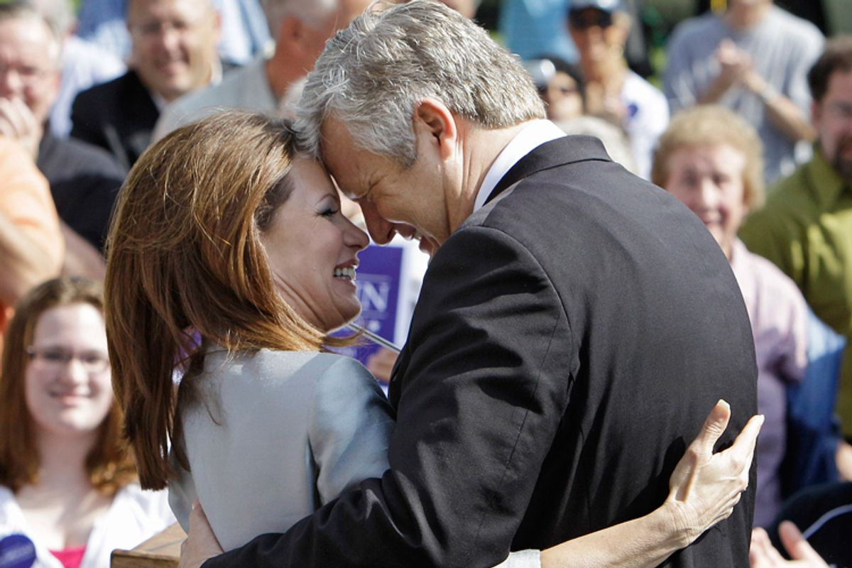 Rep. Michele Bachmann, R-Minn., gets a hug from her husband Marcus following her formal announcement to seek the 2012 Republican presidential nomination, Monday, June 27, 2011, in Waterloo, Iowa.