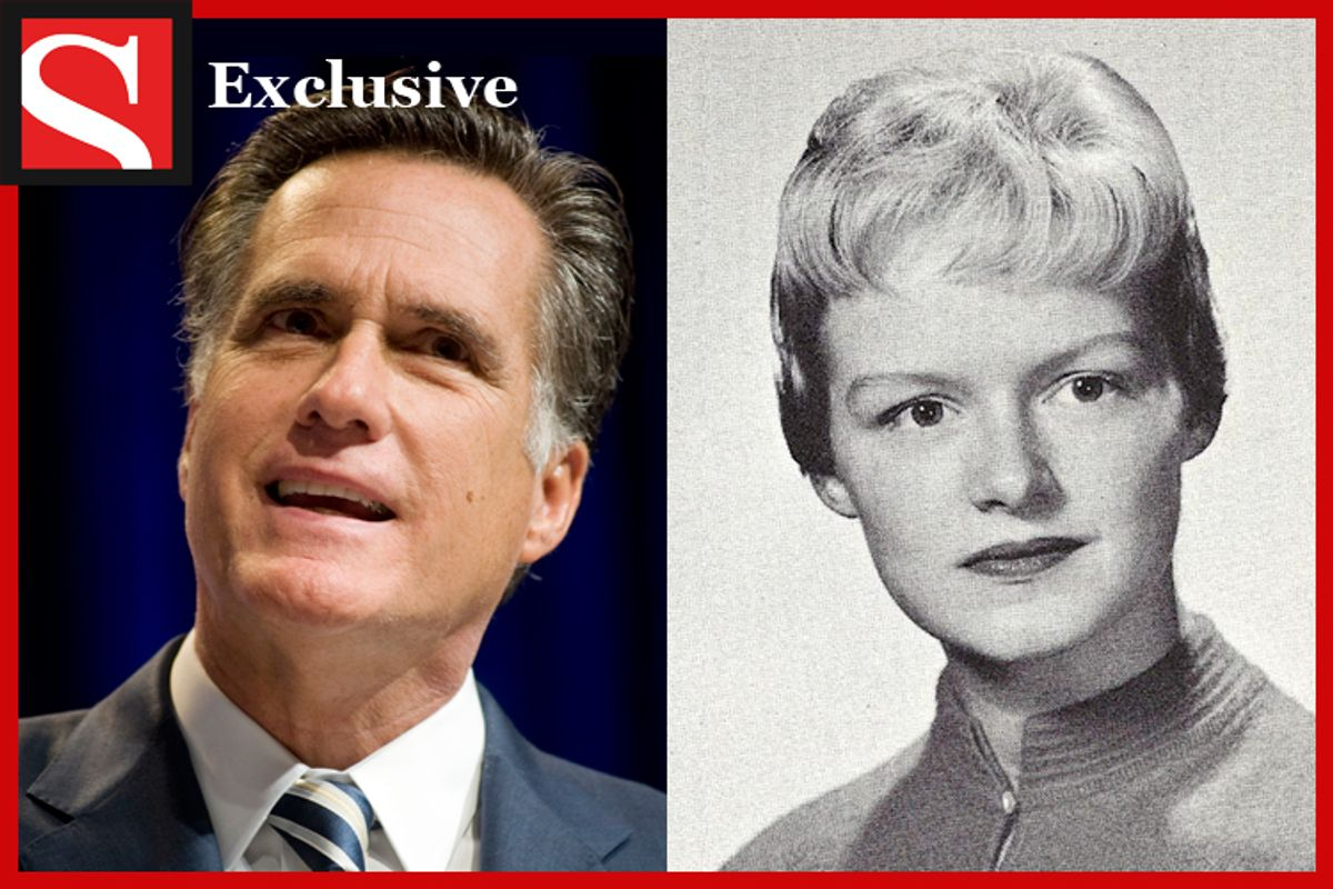 Mitt Romney and his relative Ann Keenan in her high school yearbook picture.