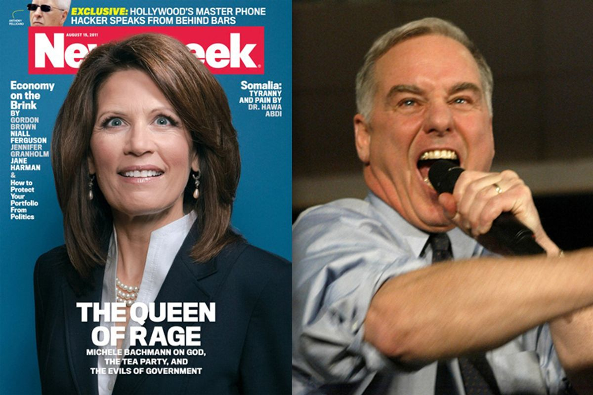 Rep. Michele Bachmann on the cover of Newsweek. Right: Then Democratic presidential hopeful, former Vermont Gov. Howard Dean addresses supporters during his caucus night party in West Des Moines, Iowa on Monday, Jan. 19, 2004.
