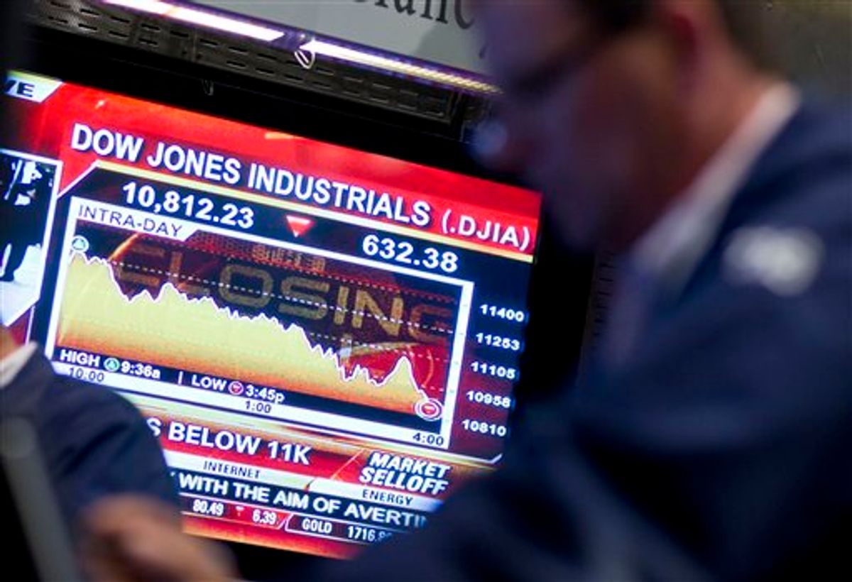 A television monitor displays the Dow Jones Industrial Average on the floor of the New York Stock Exchange near the close on Monday, Aug. 8, 2011 in New York. The Dow Jones industrials closed down 634 points, or 5.5 percent, to 10,809 Monday. It was the first time the Dow fell below 11,000 since November and its biggest one-day point drop since December 2008. (AP Photo/Jin Lee) (AP)