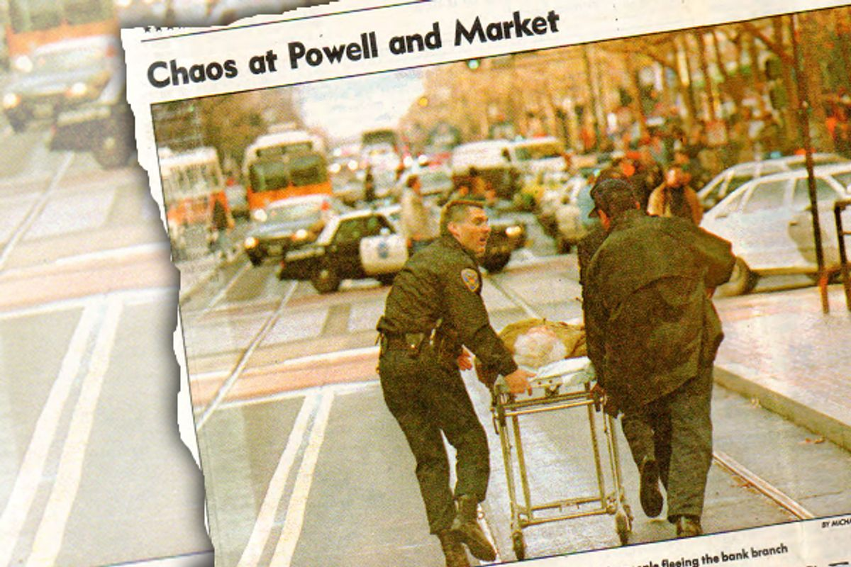 The front page of the San Francisco Chronicle on Dec. 7, 1994, featured the drama at the Powell and Market street branch of Bank of America the day before.