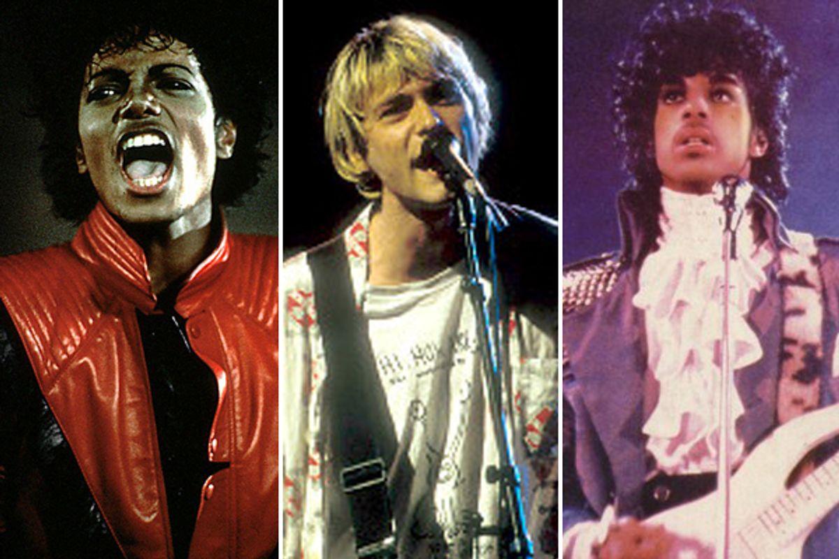 Michael Jackson, Kurt Cobain and Prince (AP)