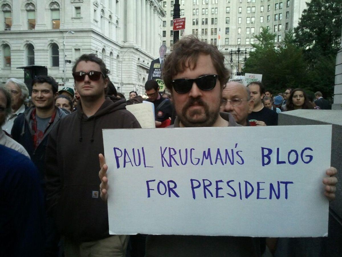 A scene from the Wall Street march.     (Justin Elliott)