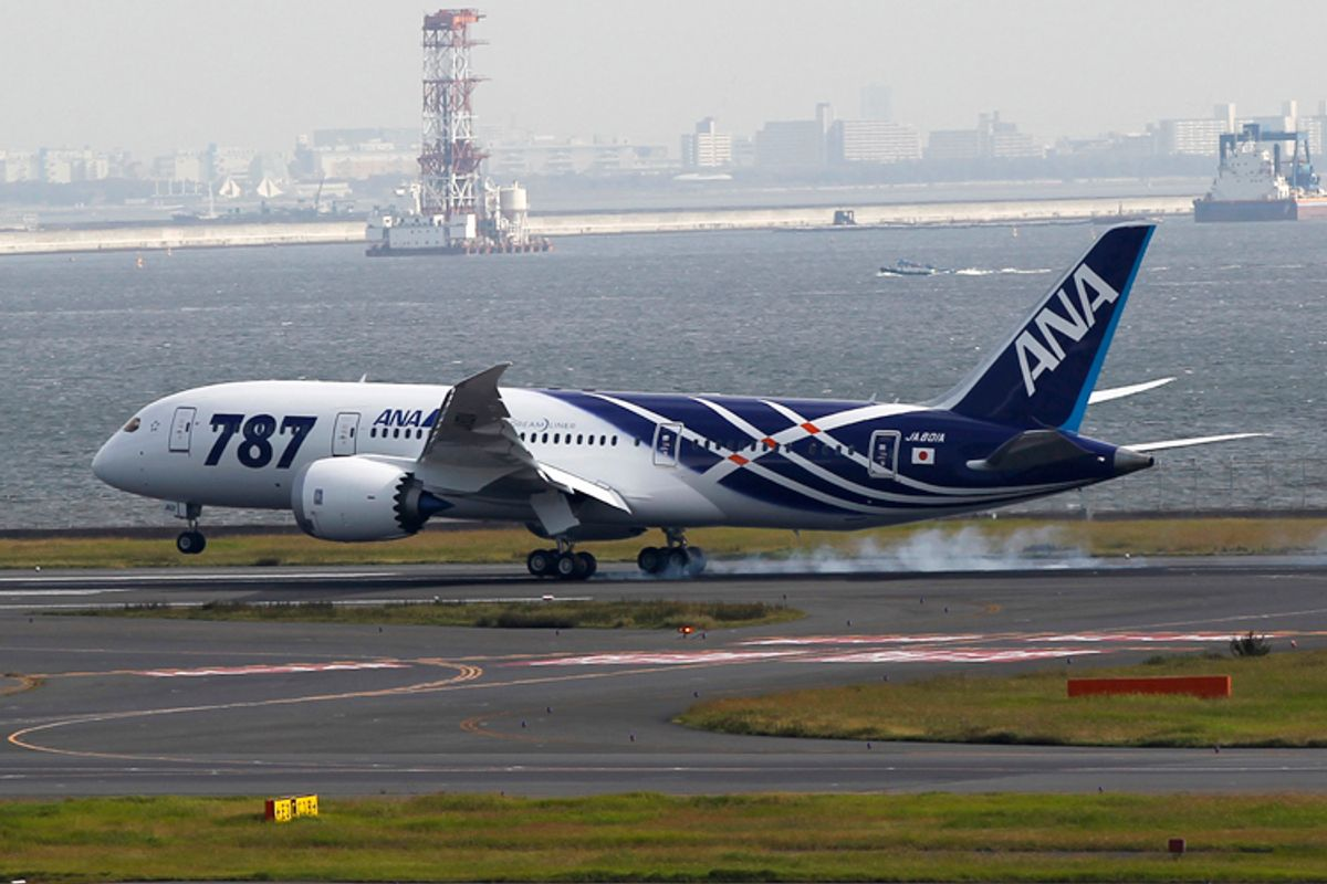 A Boeing 787 Dreamliner aircraft lands for delivery to All Nippon Airways (ANA) of Japan at Haneda airport in Tokyo September 28, 2011.   (Toru Hanai / Reuters)