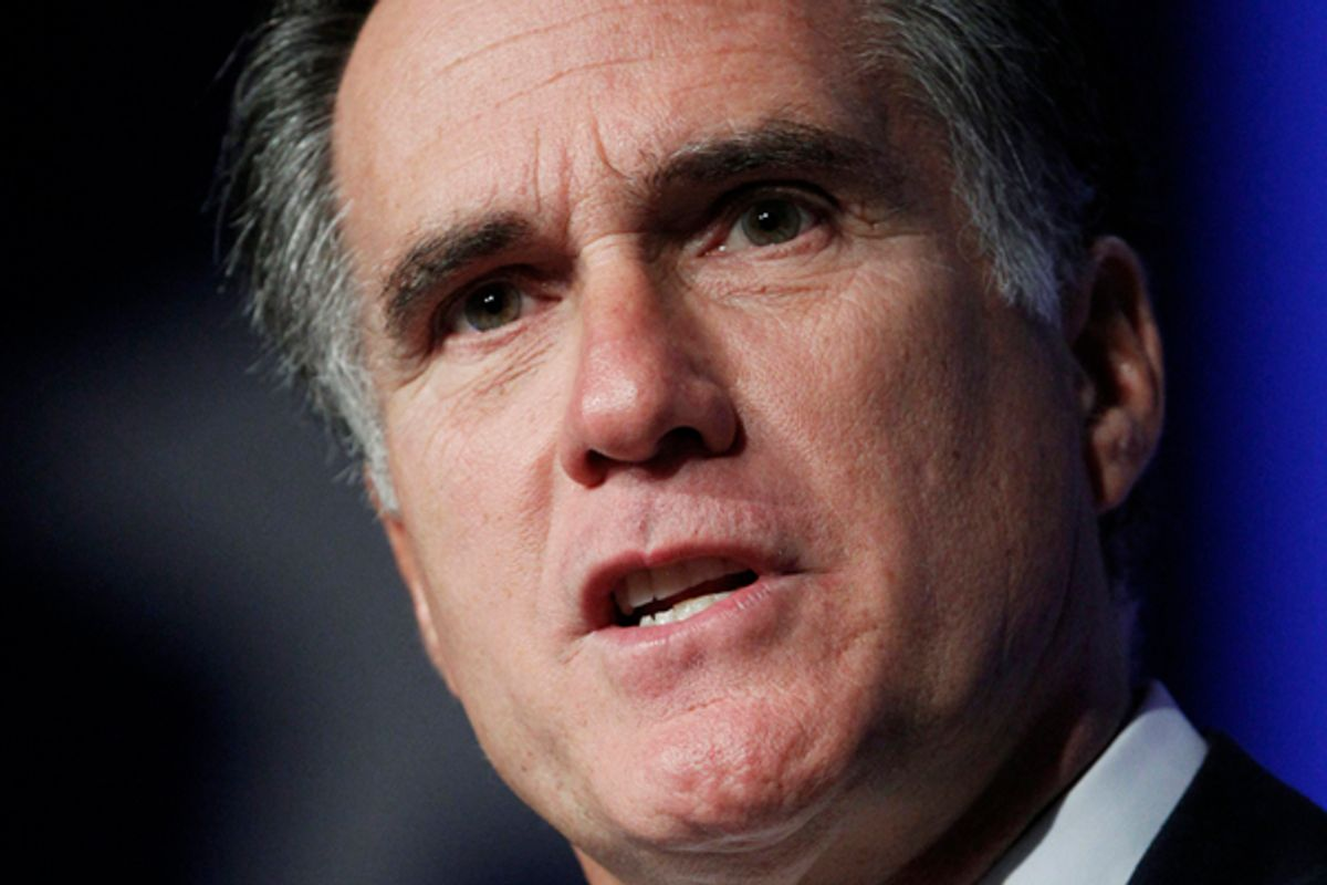 Republican presidential candidate and biological humanoid entity, former Massachusets Gov. Mitt Romney, speaks at the Values Voter Summit in Washington, Saturday, Oct. 8, 2011.  (AP Photo/Manuel Balce Ceneta))