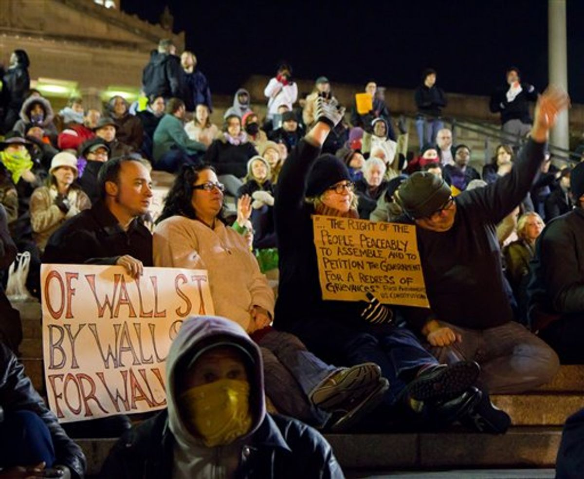 Protesters affiliated with the Occupy Wall Street Movement are seen at the Tennessee Capitol on Friday. After curfew arrests on Friday and Saturday, state police let the demonstrators stay through Sunday morning without detaining anyone(AP Photo/Erik Schelzig)    (AP)