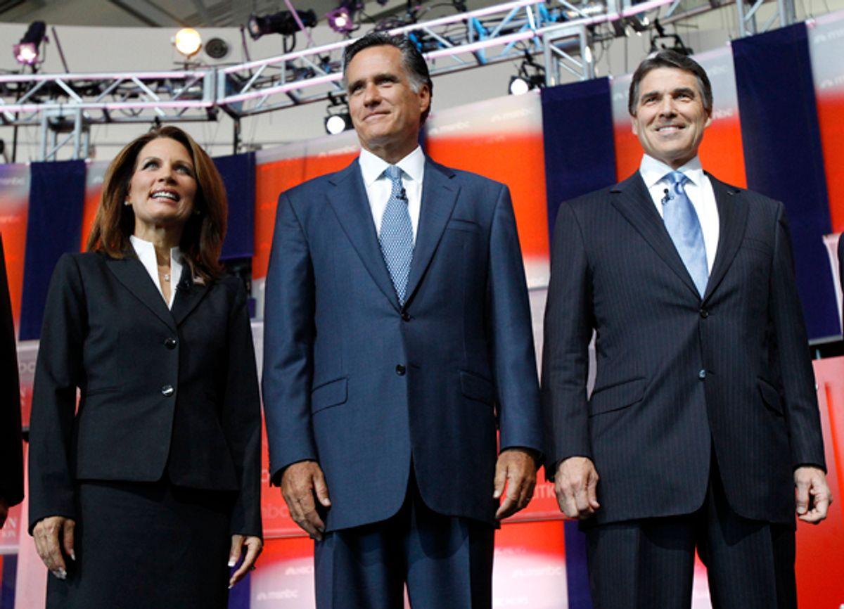 U.S. Republican presidential candidates, Rep. Michele Bachmann (R-Minn.), former Massachusetts Gov. Mitt Romney and Texas Gov. Rick Perry  (Mario Anzuoni / Reuters)