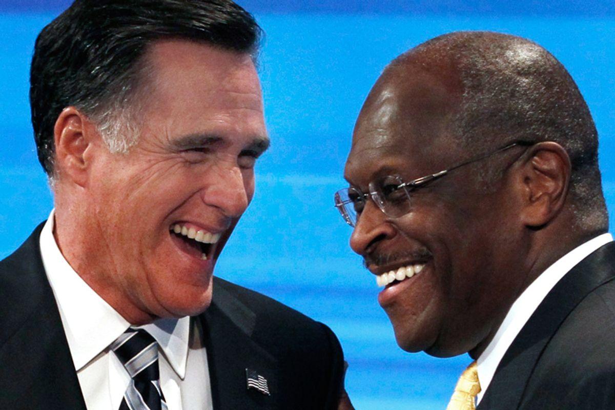 Mitt Romney and Herman Cain    (Reuters/Scott Audette)