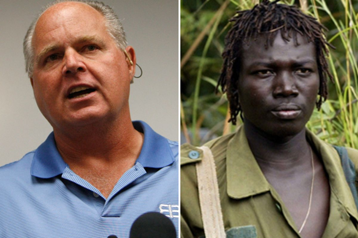 Rush Limbaugh and a Lord's Resistance Army (James Akena / Reuters)