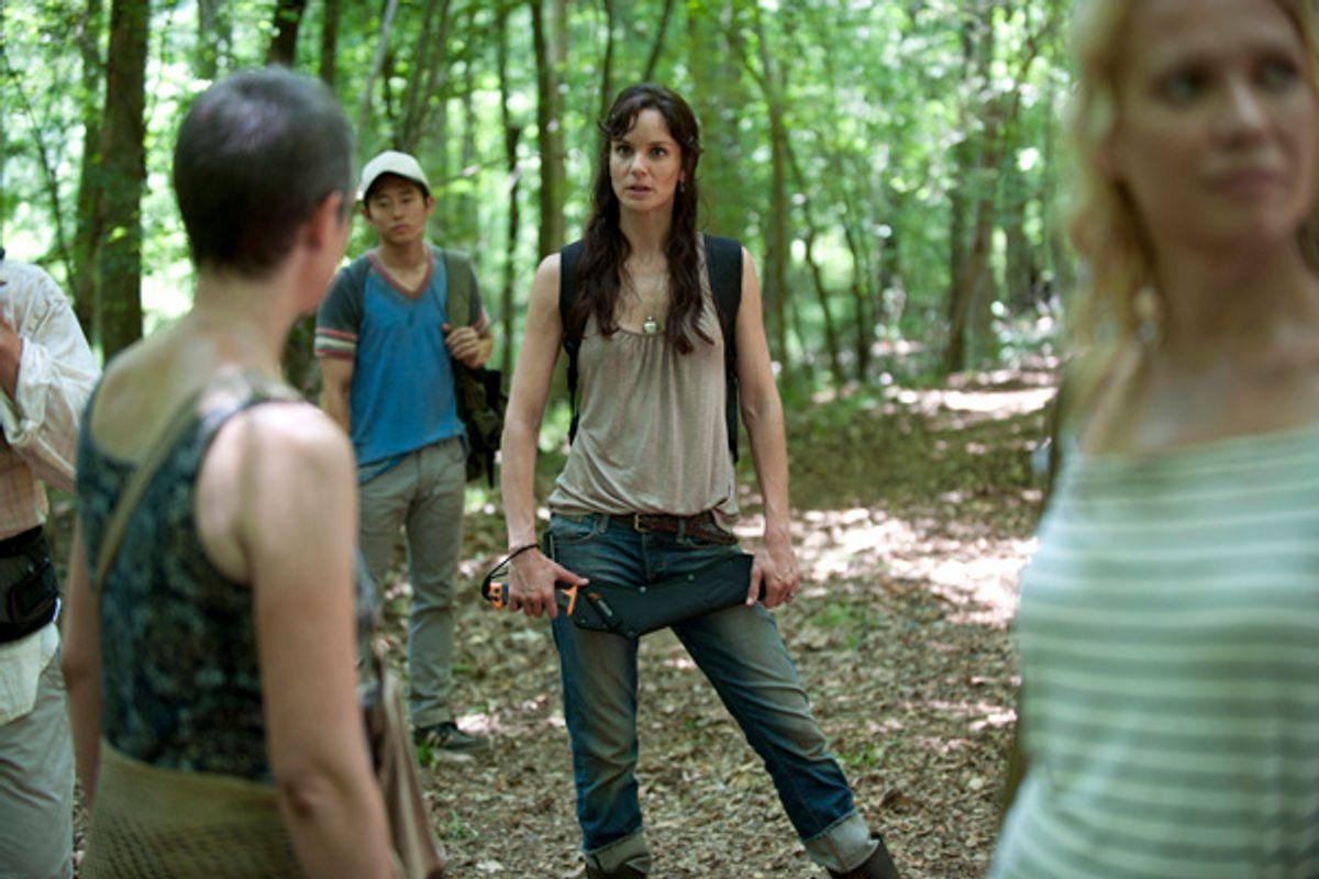(L-R) Carol (Melissa Suzanne McBride), Glenn (Steven Yeun), Lori Grimes (Sarah Wayne Callies) and Andrea (Laurie Holden)   (AMC/Gene Page)