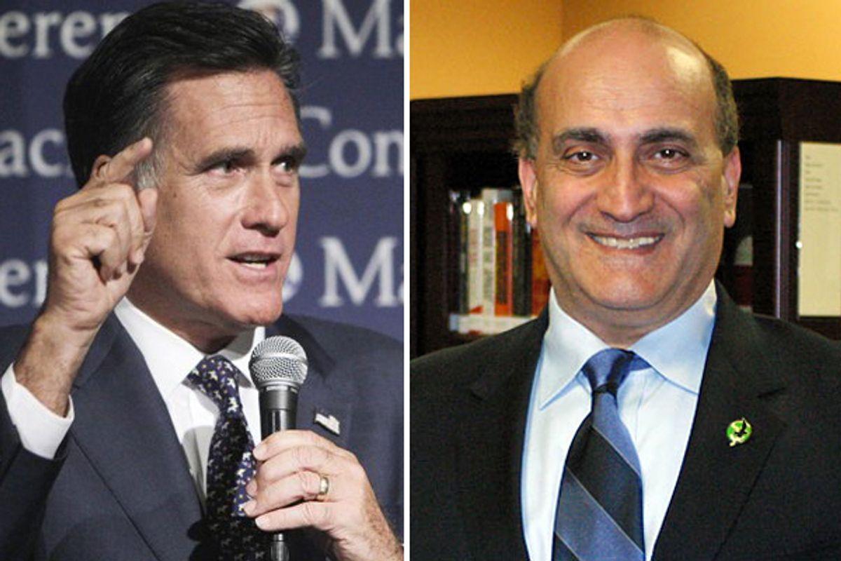 Mitt Romney and Walid Phares    (AP/<a href='http://www.walidphares.com/artman/publish/article_2747.shtml'>walidphares.com</a>)