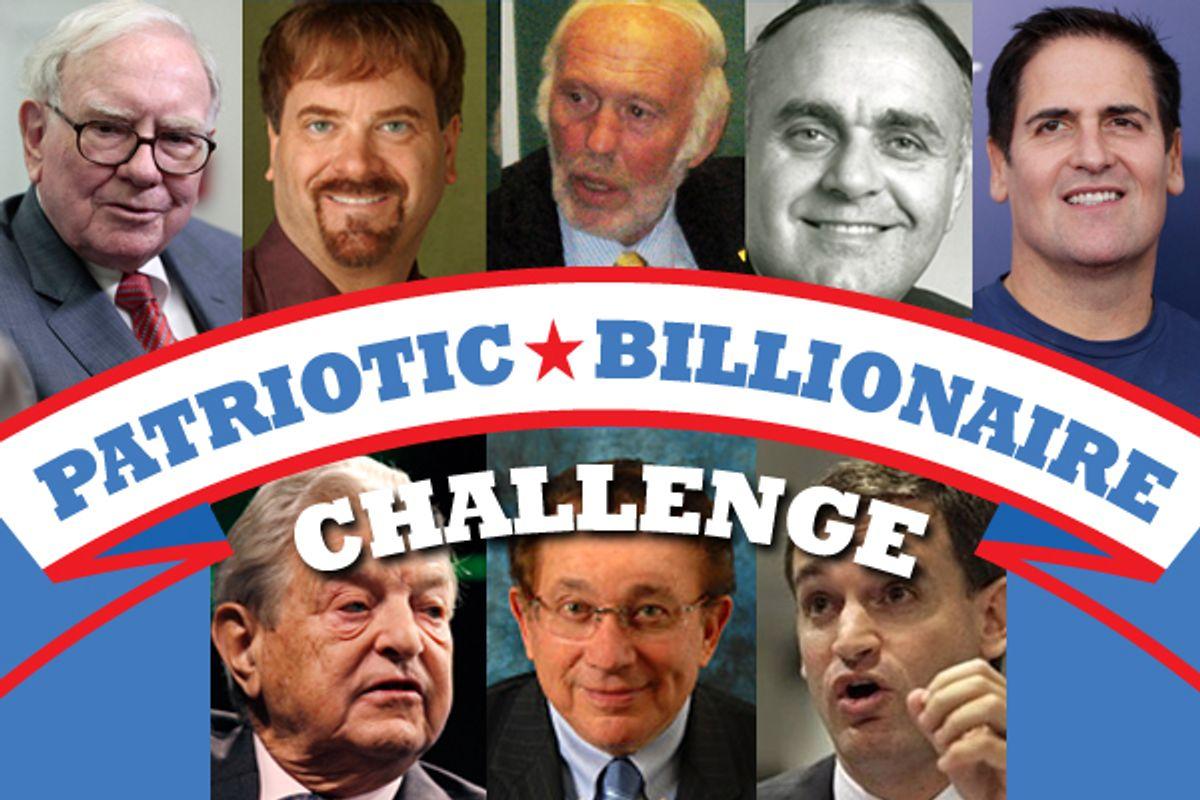 Clockwise, top left: Warren Buffet, Todd Wagner, James Simons, Leon Cooperman, Mark Cuban, John Arnold, Herbert Simon, George Soros