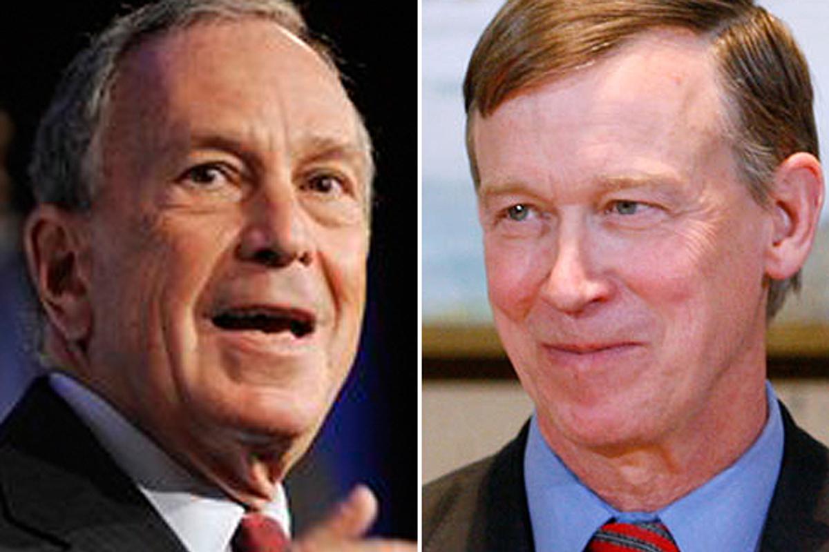 New York City Mayor Michael Bloomberg and Colorado Gov. John Hickenlooper        (AP)