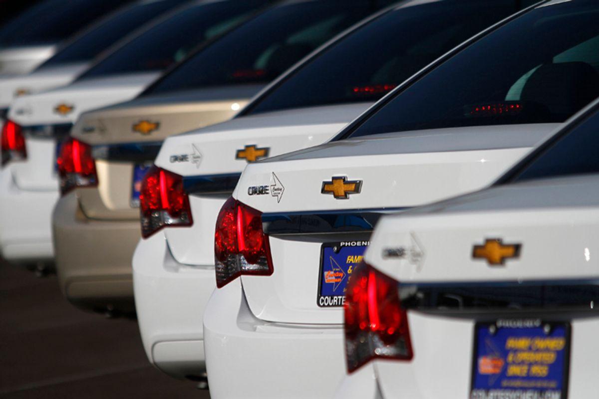 Chevrolet Cruze vehicles are displayed at Courtesy Chevrolet dealership in Phoenix, Arizona.   (Joshua Lott / Reuters)