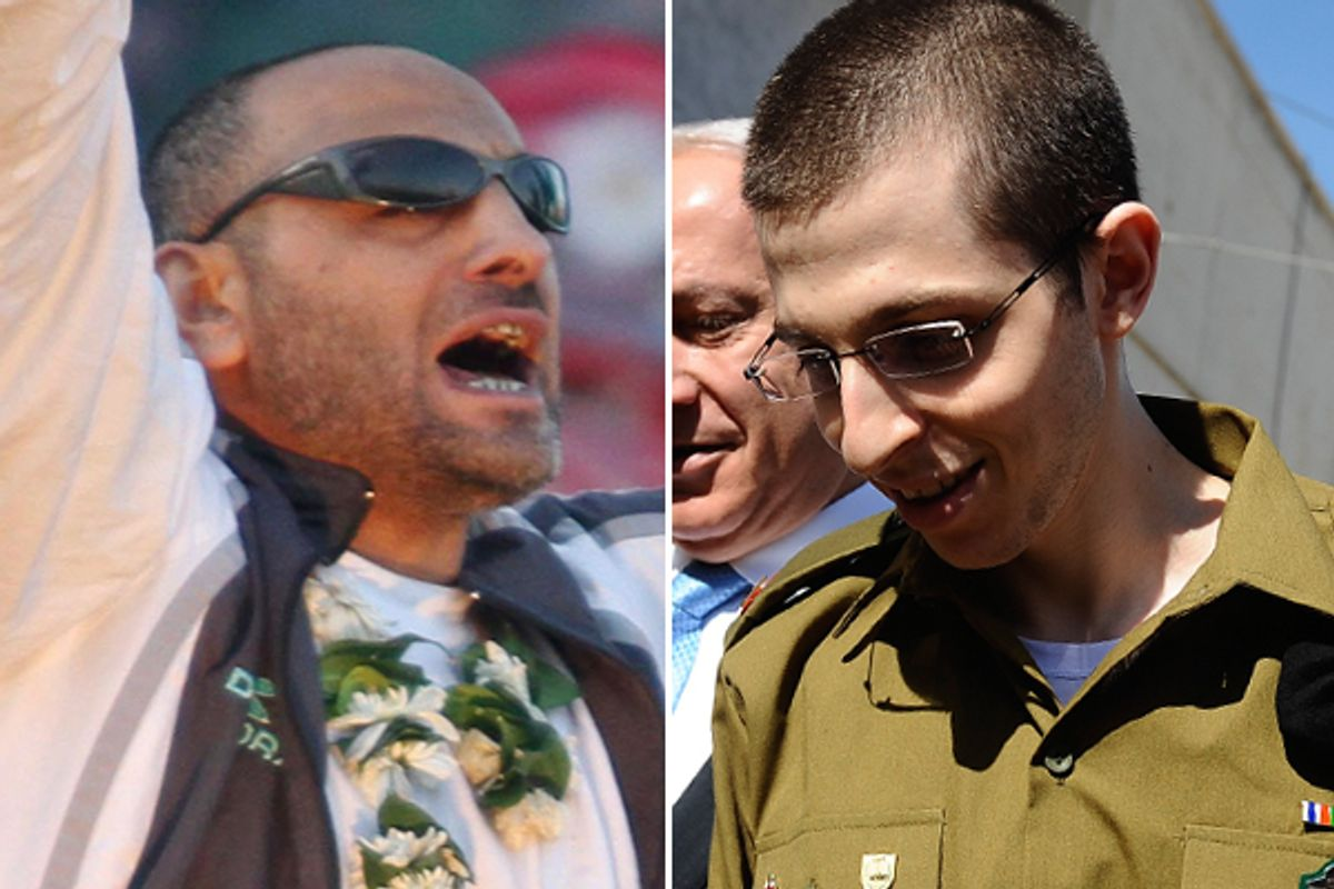 Freed prisoners Palestinian Khalil Abu Alba, left, and Israeli Gilad Schalit.            (AP)