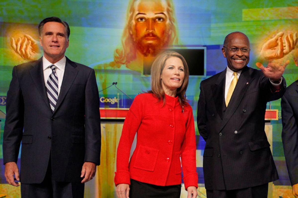 Mitt Romney, Rep. Michele Bachmann, Herman Cain (Reuters/Salon)