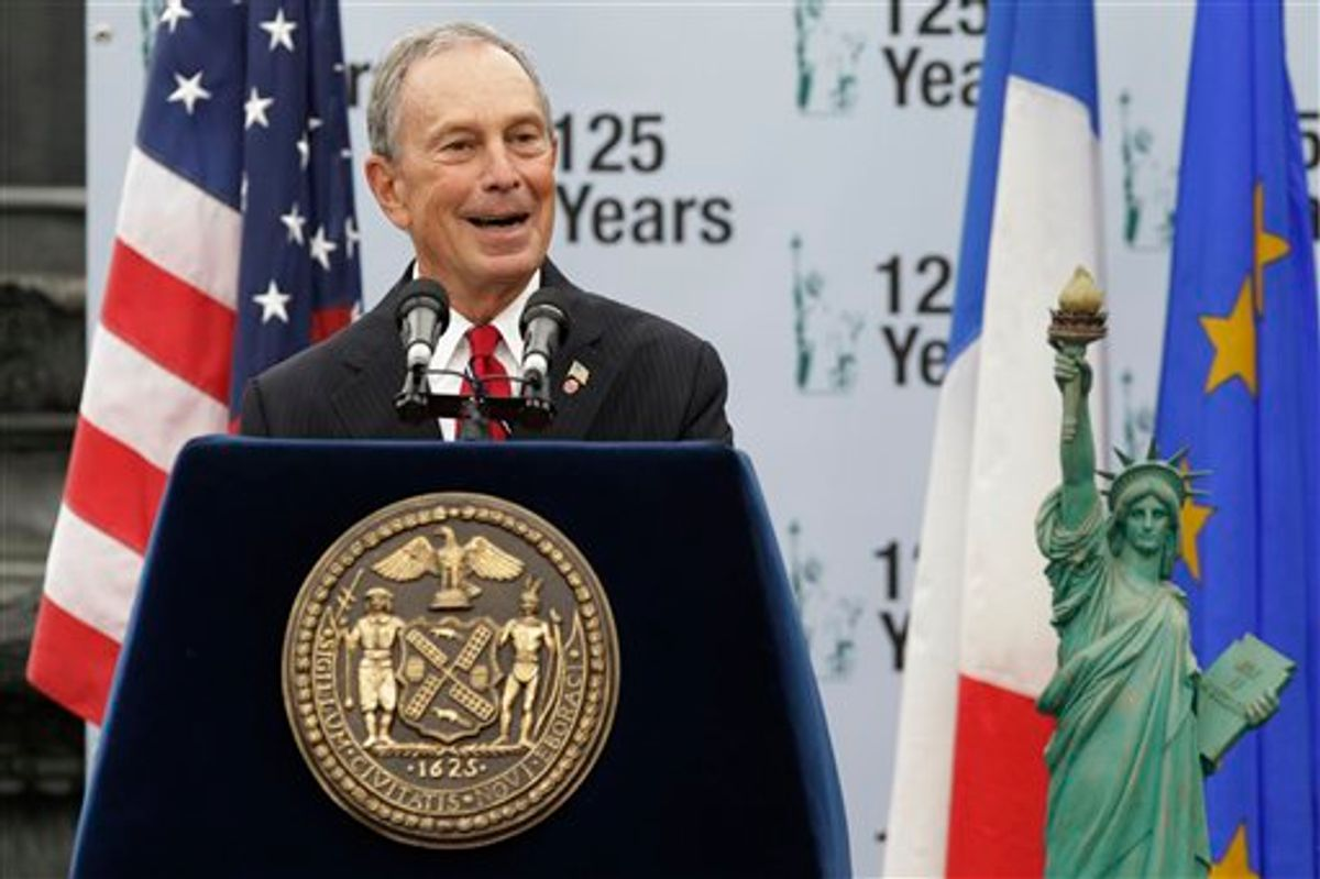 New York Mayor Michael Bloomberg addresses the crowd during a visit to Liberty Island in anticipation of the 125th Anniversary of the Statue of Liberty, in September.     (AP/Julio Cortez)