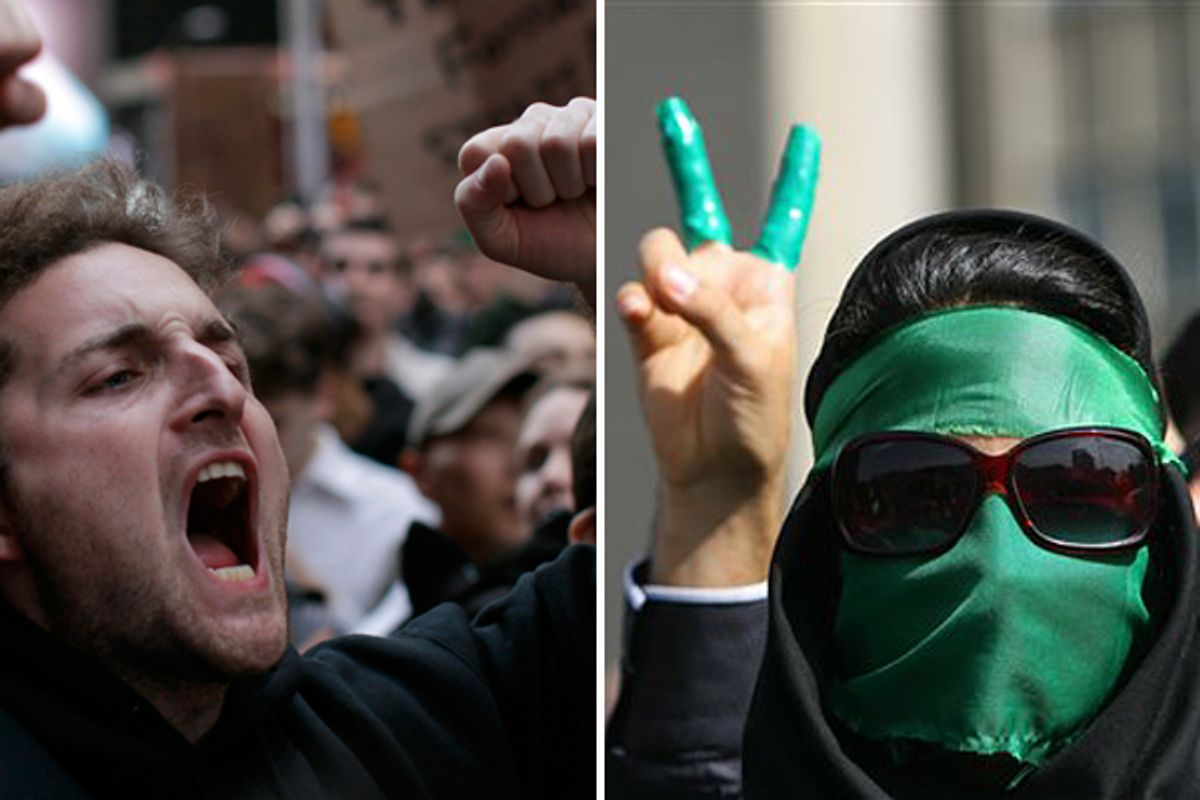 Occupy Wall Street protesters shout slogans during a protest at Times Square in New York. Right: Supporters of opposition leader Mir Hossein Mousavi, as they listen to his speech at a demonstration in Tehran on Thursday June, 18, 2009.  (Reuters/AP)