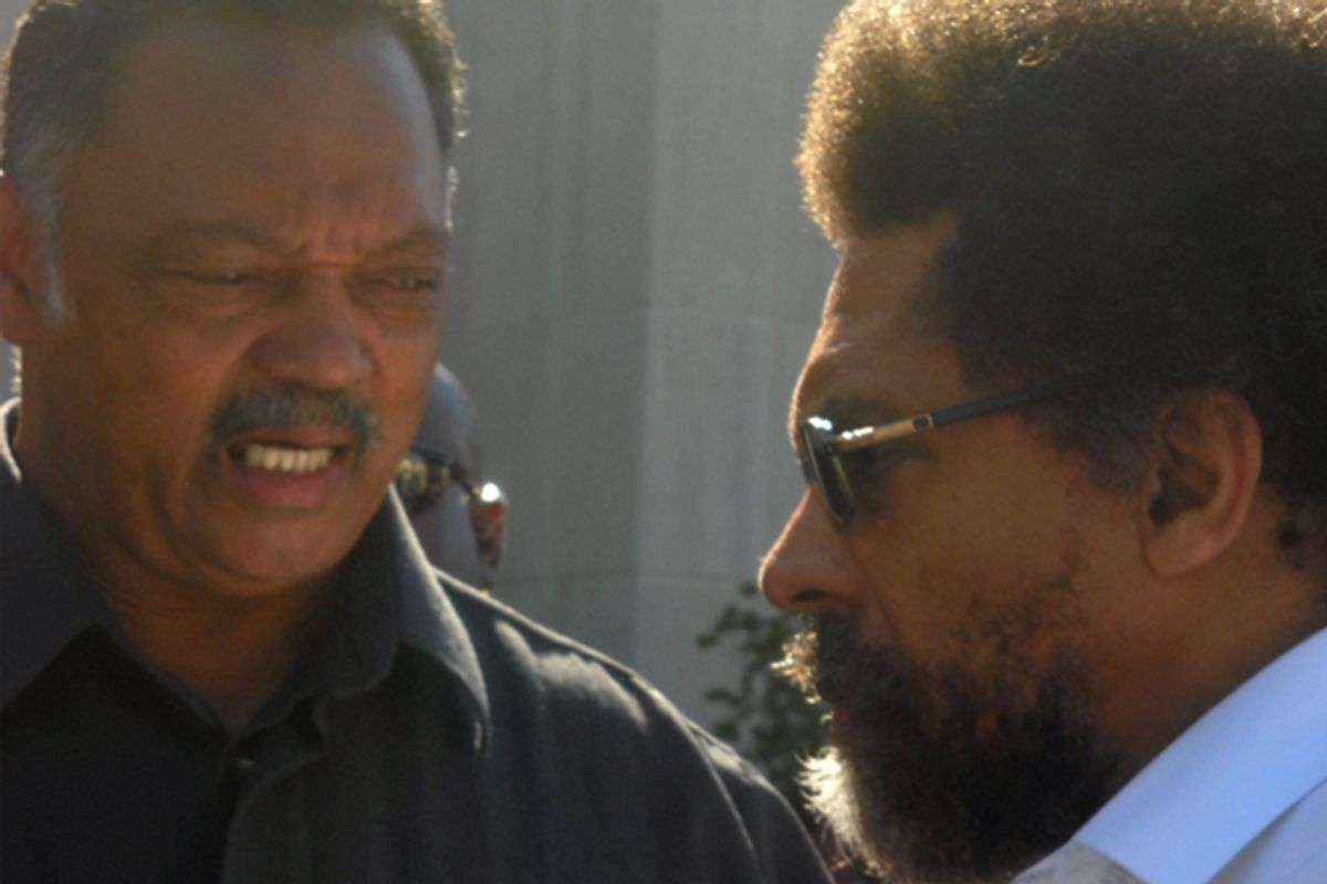 Jesse Jackson meets Cornel West at the Washington courthouse      (Jefferson Morley)