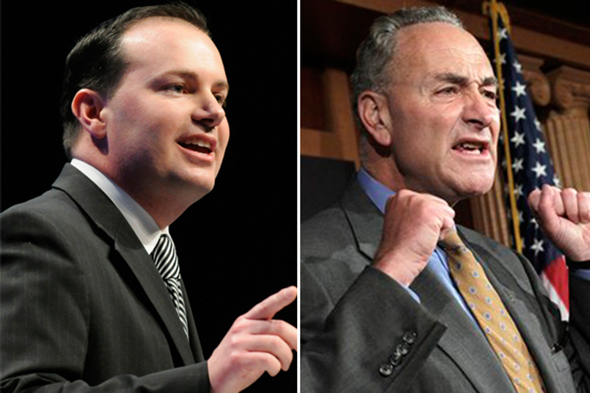 Senators Mike Lee and Charles Schumer      (Reuters/AP)