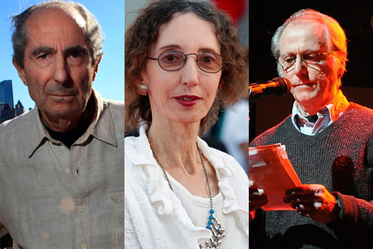 From left, Philip Roth, Joyce Carol Oates and Don Delillo    (reuters/<a href='http://en.wikipedia.org/wiki/File:Don_delillo_nyc.jpg'>Thousandrobots</a>)