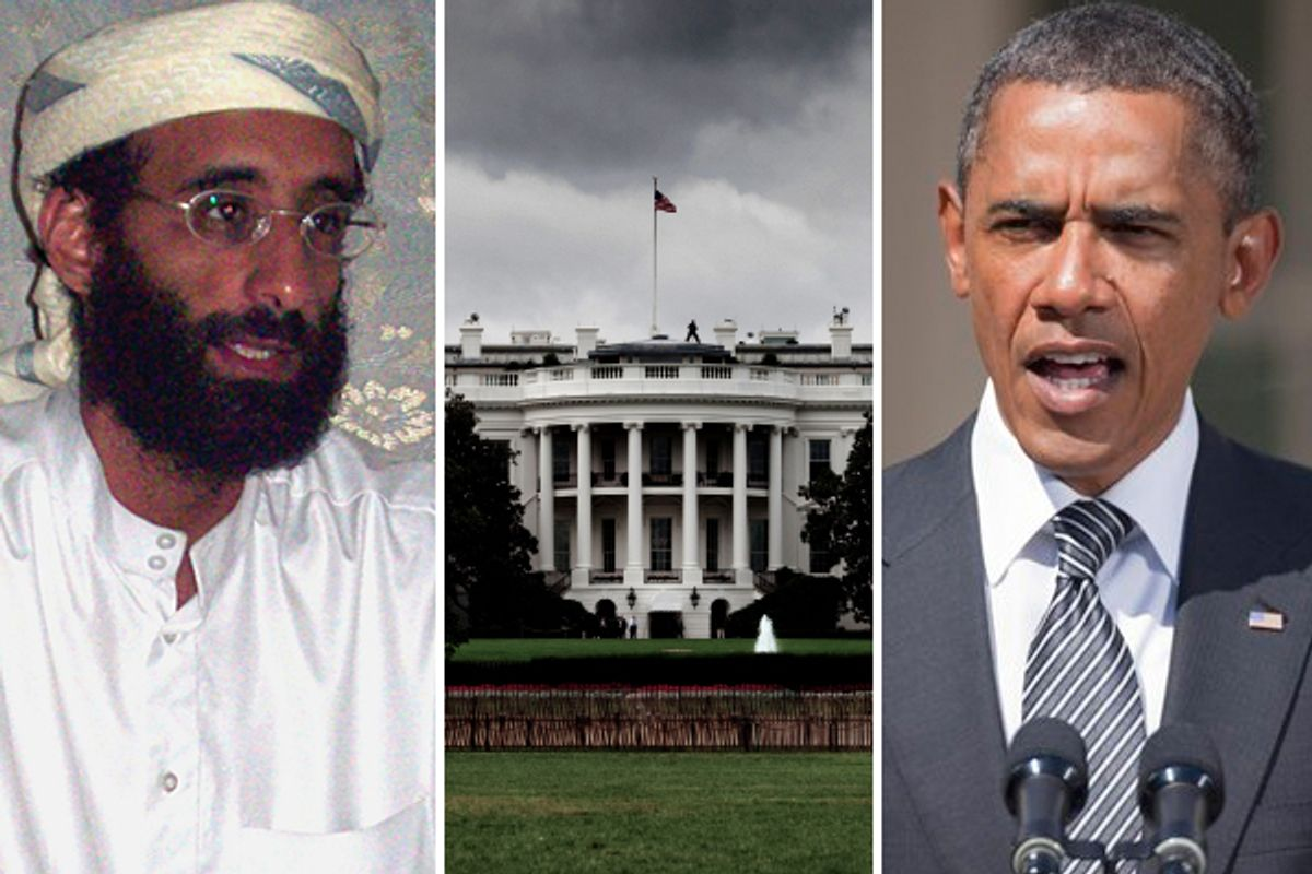 Anwar al-Awlaki, the White House and President Barack Obama       (<a href='http://en.wikipedia.org/wiki/File:Anwar_al-Awlaki_sitting_on_couch,_lightened.jpg'>Muhammad ud-Deen</a>/iStockphoto: P_Wei/AP)