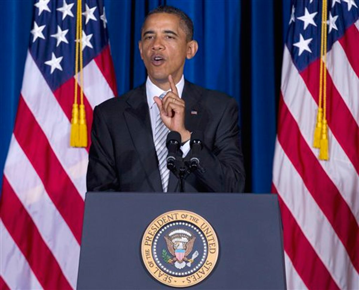 President Barack Obama gestures while speaking at the White House Forum on American Latino Heritage, Wednesday, Oct. 12, 2011, at the Interior Department in Washington.    (AP/Carolyn Kaster)