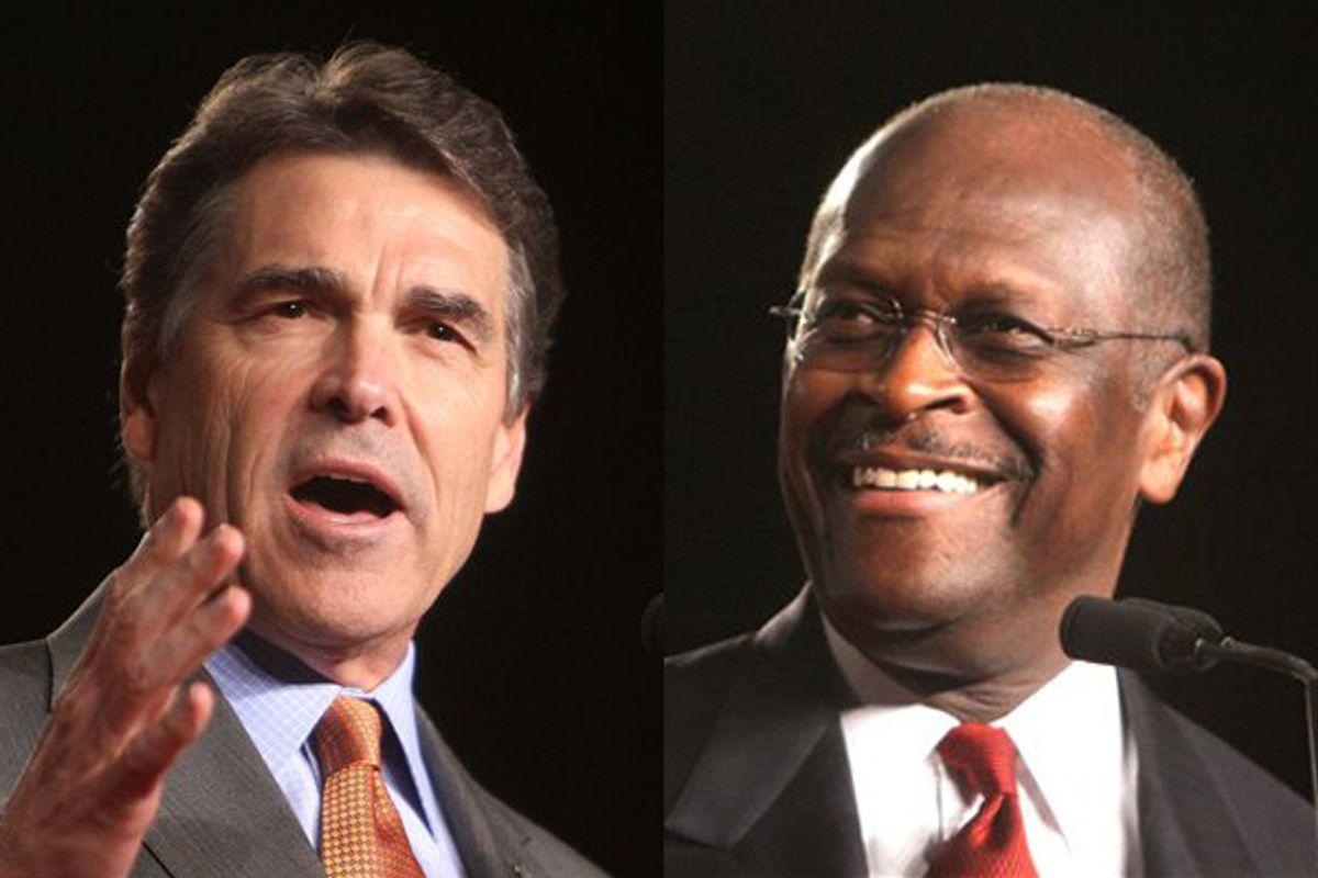 Rick Perry and Herman Cain    (AP)