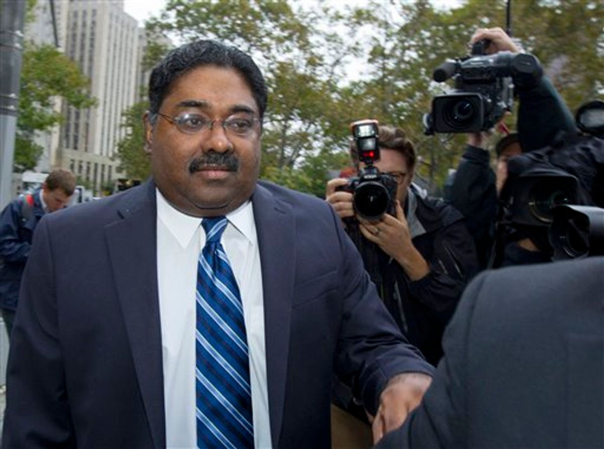Raj Rajaratnam, co-founder of Galleon Group LLC, arrives at  Federal Court for sentencing on Thursday, Oct. 13, 2011 in New York.     (AP/Jin Lee)