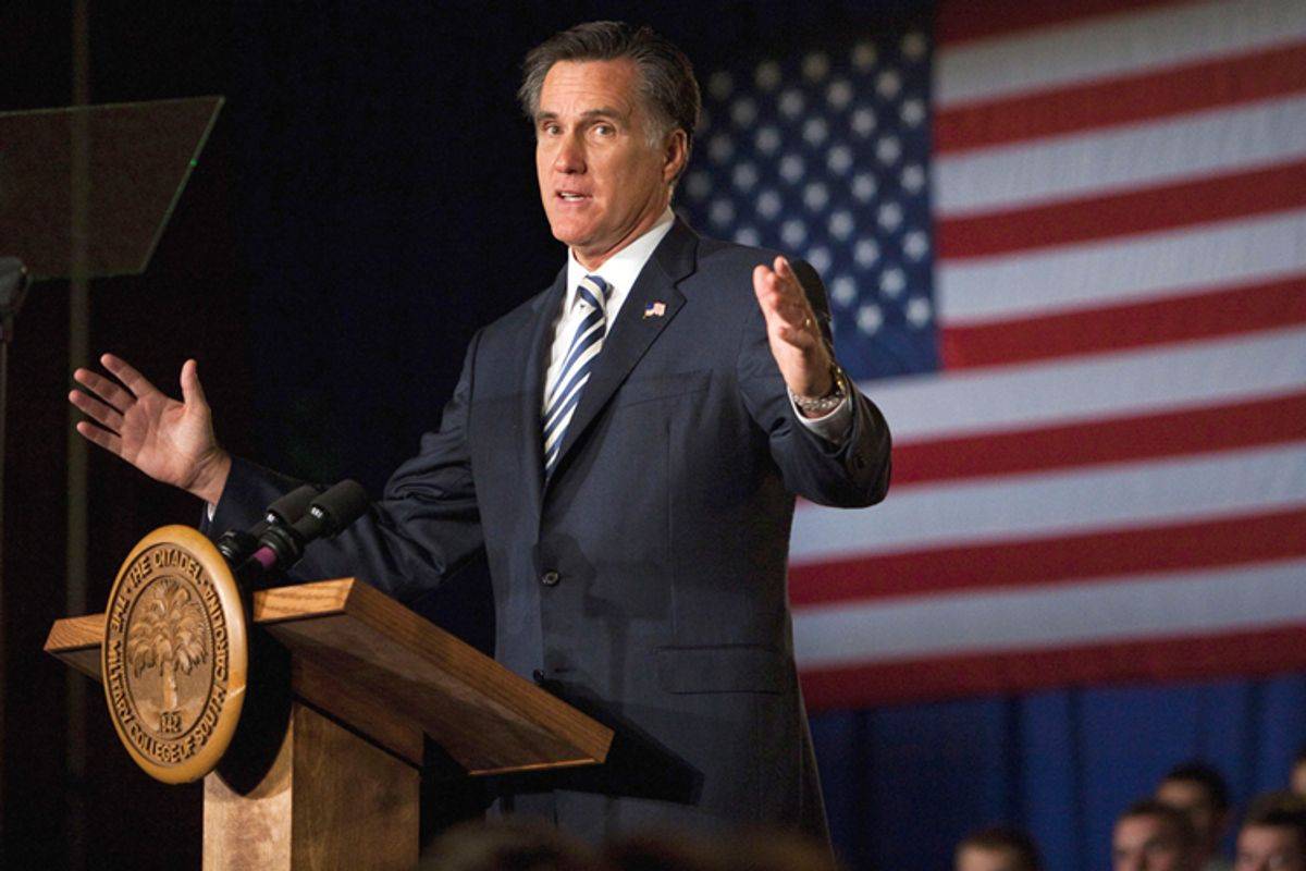 Republican presidential candidate Mitt Romney speaks to Citadel cadets and supporters during a campaign speech inside Mark Clark Hall on The Citadel campus in Charleston, S.C., Friday Oct. 7, 2011.   (AP)