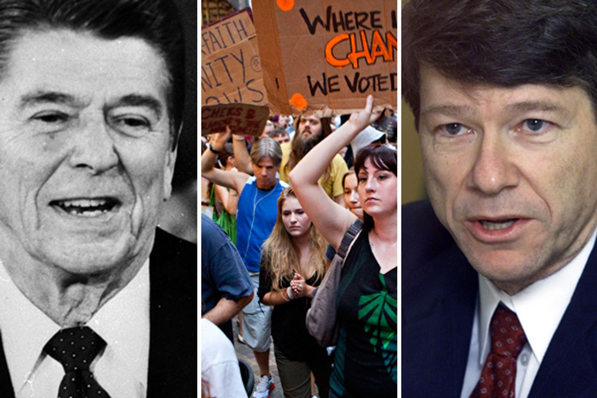 """Former president Ronald Reagan, left. Center: Protesters affiliated with the """"Occupy Wall Street"""" protests march through the Financial District in New York. Right: Jeffrey Sachs  (AP)"""