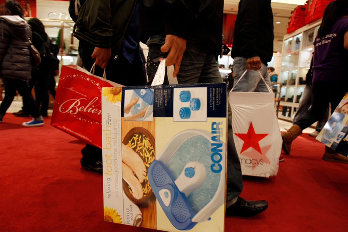 Shoppers leaving Macy's in New York  (Jessica Rinaldi / Reuters)