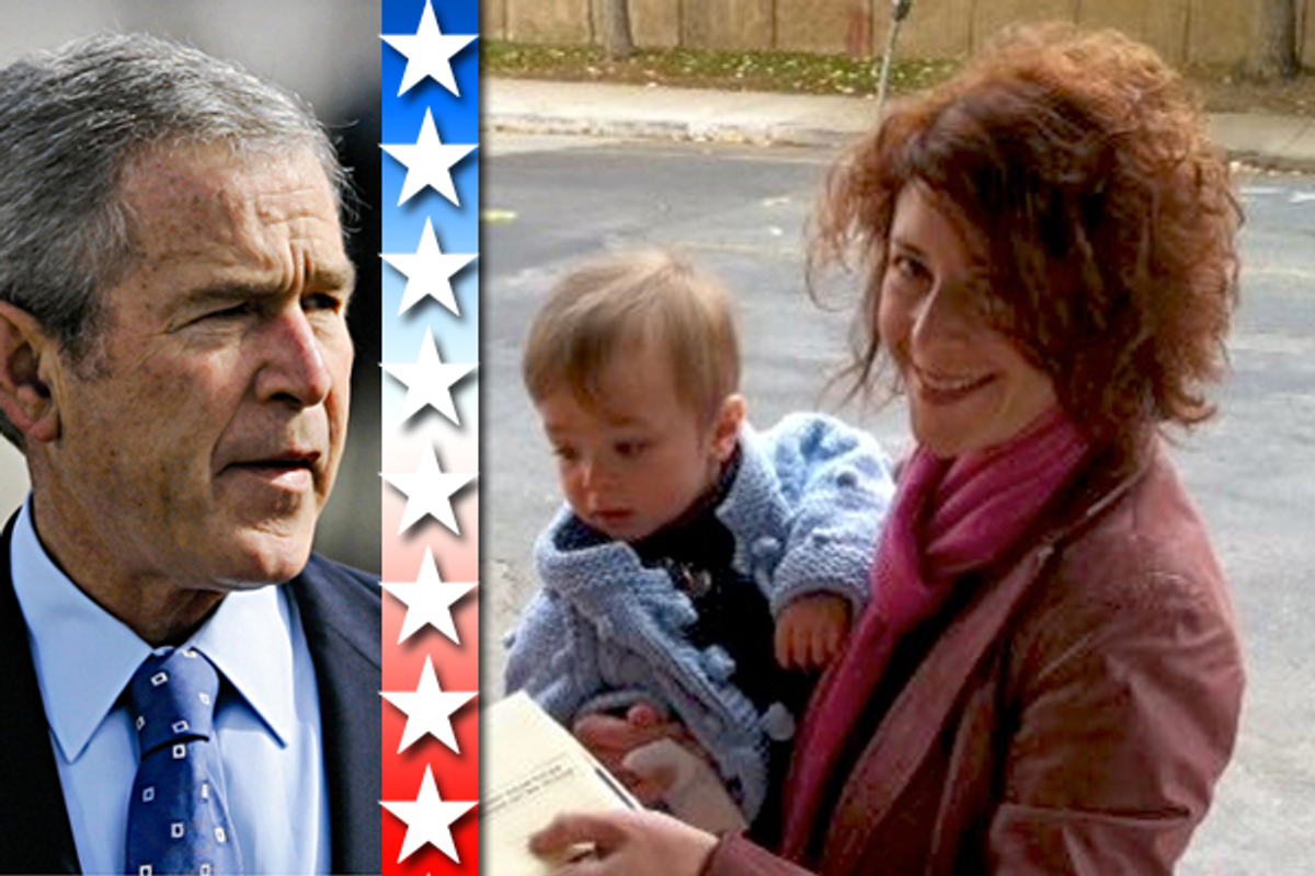 Left: George W. Bush. Right: The author's wife holds their son as she mails her ballot for the election.  (AP/Courtesy of the author)