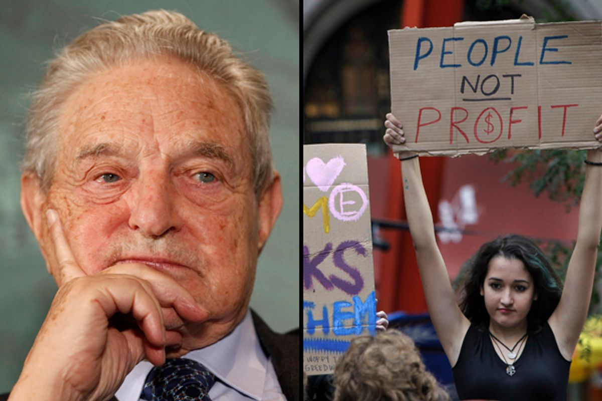 George Soros, left. Right: A young woman holds up a sign as passersby take in the scene at the Occupy Wall Street headquarters at Zuccotti Park in New York, Tuesday, Oct. 11, 2011.    (AP/Stefan Wermuth, Reuters)