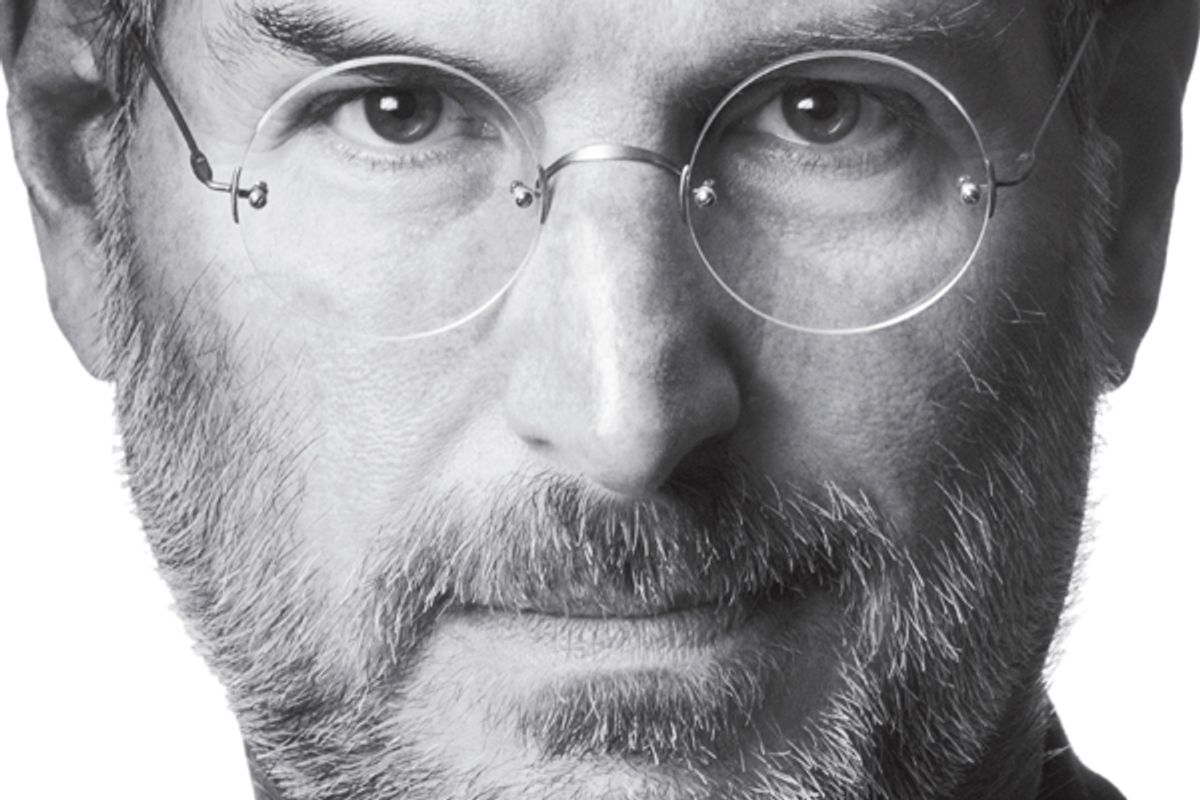"""A detail from the cover of Walter Isaacson's """"Steve Jobs"""""""