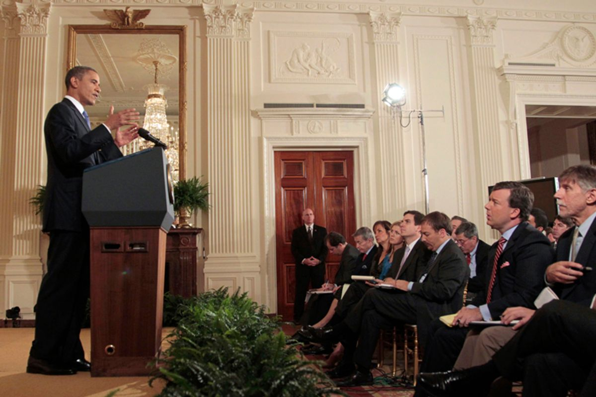 President Barack Obama gestures during his news conference in the East Room of the White House in Washington, Thursday, Oct. 6, 2011. (AP Photo/Pablo Martinez Monsivais)  (AP)