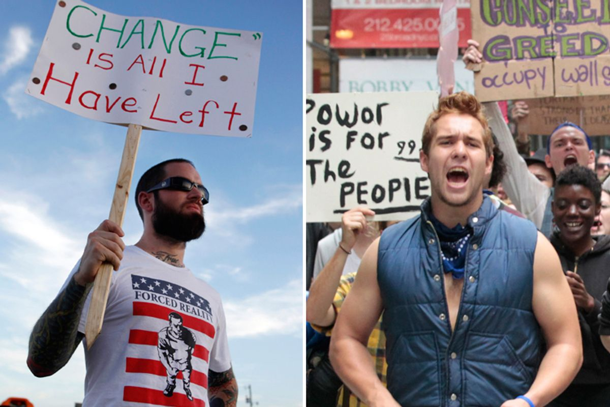 Left: A protester at America's Tea Party in Parker, Texas; Right: Protesters at the Occupy Wall Street campaign in New York  (Rebecca Cook/Brendan McDermid/Reuters)