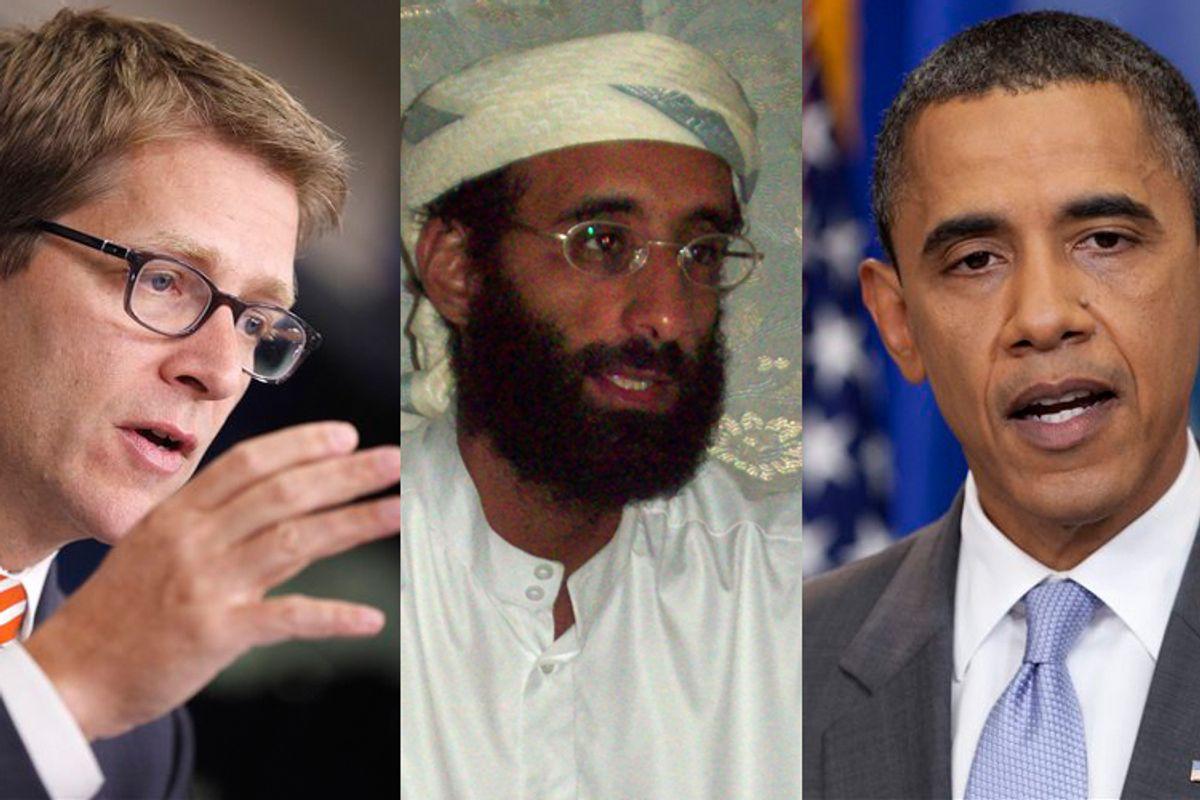 Jay Carney, Al Awlaki and President Barack Obama (AP/<a href='http://upload.wikimedia.org/wikipedia/commons/e/ef/Awlaki_1008.JPG'>Muhammad ud-Deen</a>)