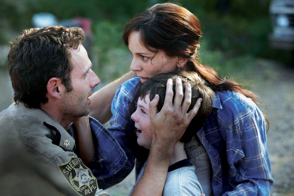 """Fresh meat! Andrew Lincoln, Sarah Wayne Callies and Chandler Riggs on AMC's """"The Walking Dead."""" (Credit: AMC.)"""
