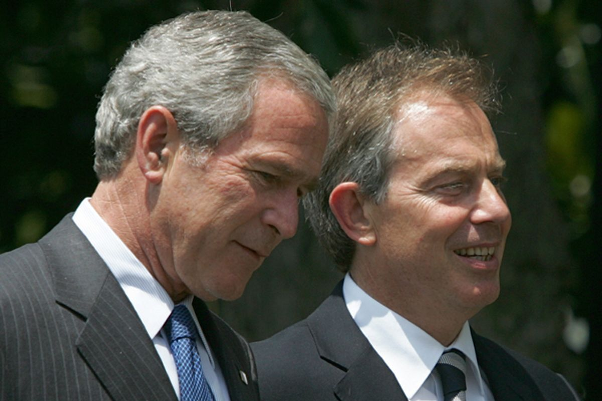 Former President Bush and then British Prime Minister Tony Blair  (AP)